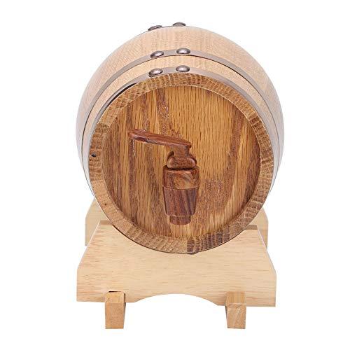 Cerlingwee Barril de Cerveza casera, Mini Barril de Vino de Barril de Vino, Decorativo para la casa de té del Restaurante del café de la(Primary Color Gold Hoop, 1L)