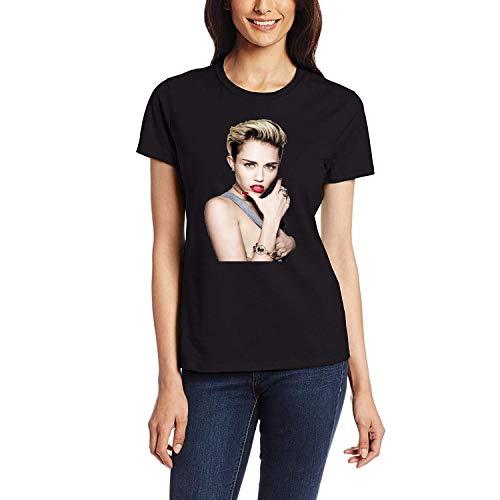 DAXIANIU Damen T-Shirts Miley Cyrus Loves Cotton T-Shirts Black
