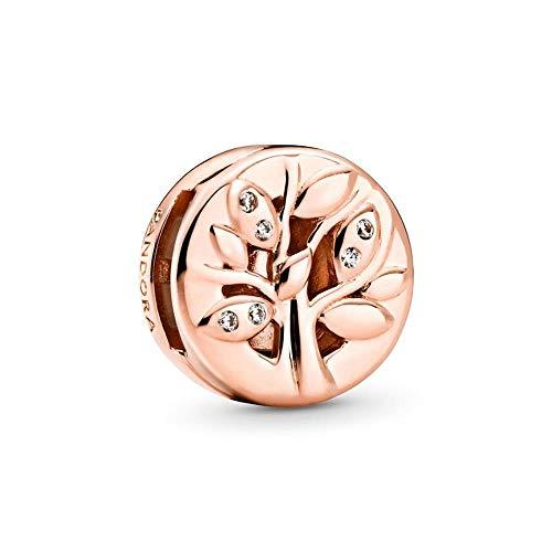Pandora - Ciondolo a forma di albero genealogico con clip, 1,23 cm, colore: Rosa