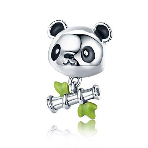 Lily Jewelry - Ciondolo per braccialetto Pandora a forma di panda con canna di bambù, in argento Sterling 925