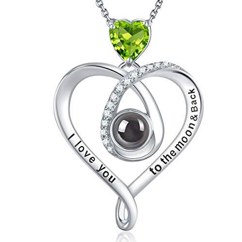 GinoMay Ich liebe dich Halskette 100 Sprachen August Geburtsstein Peridot Schmuck Damen Geburtstagsgeschenke 925 Sterling Silber