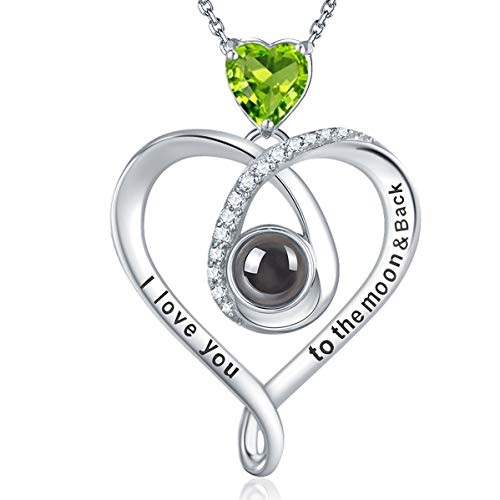 GinoMay I Love You Halskette 100 Sprachen Muttertag Geburtstagsgeschenk für Frauen Mutter Grün Peridot Halskette für Teen Girls Frau Jubiläumsgeschenke für ihr Sterling Silber