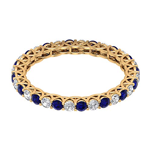 Rosec Jewels 10 quilates oro amarillo redonda round-brilliant-shape H-I Blue Diamond Zafiro azul creado en laboratorio.