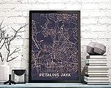 MG global PETALING Jaya Malaysia Map Poster Color Hometown