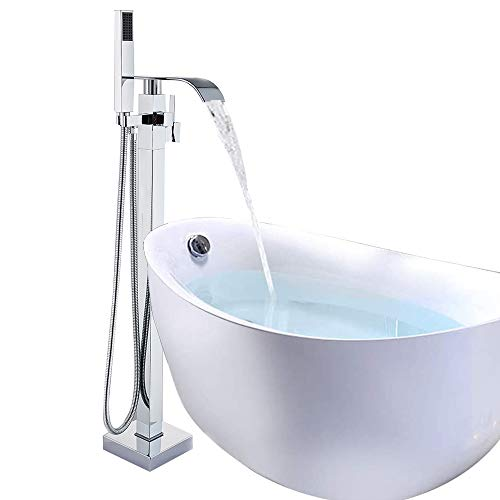 Onyzpily Chrom Wannenarmatur Bodenmontage Badewanne Badezimmer freistehend Wasserhahn Einhandmischer ABS Handbrause Armatur 360°-Einhebelmischer mit Bad Kalt- und Heiß-Mischarmatur