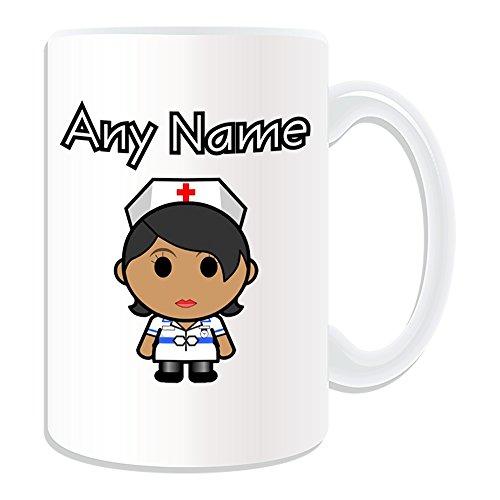 Gepersonaliseerd geschenk - grote verpleegster in witte jurk zwarte mok (Carrière ontwerp thema, wit) - elke naam/bericht op uw unieke - nationale NHS ziekenhuis werknemer personeel uniform rood kruis hoed Aziatische algemene praktijk huisarts beroep