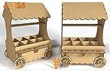 Carrito de madera DM para chuches ideal para candy bar o mesa dulce. Mide : 45cm de alto x 30 cm de ancho x 25 cm de fondo. Se envía totalmente montado