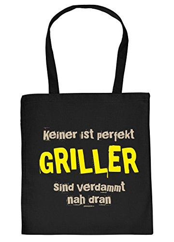 Tasche/Einkaufstasche/Stoffbeutel Rubrik Grillen: Keiner ist perfekt Griller sind verdammt nah dran