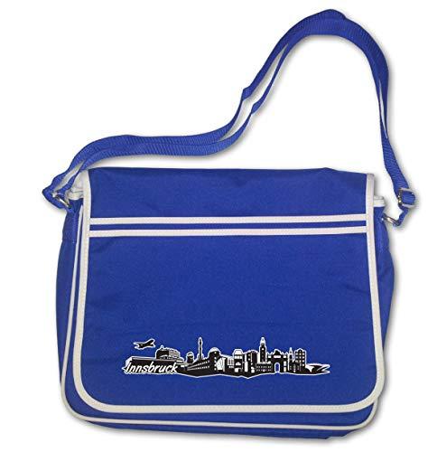 Samunshi® Freizeittasche Innsbruck Skyline Digitaldruck Tirol Österreich Retro Messenger 40x30x10cm königsblau/Farbiger Aufdruckkönigsblaufarbiger Aufdruck