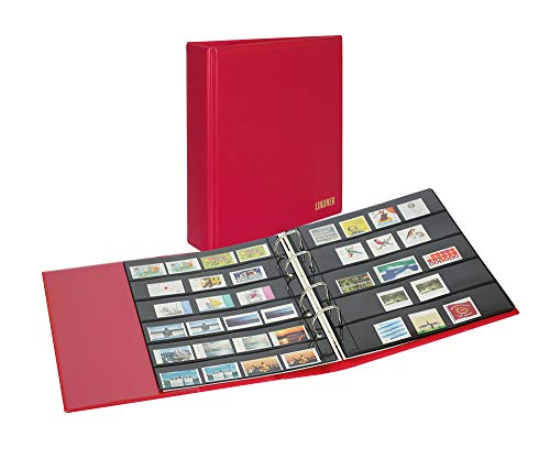 LINDNER PUBLICA M COLOR S3540B Einsteckalbum für Briefmarken Briefmarkenalbum mit 10 beidseitig bestückbaren Folien-Einsteckblättern in zwei verschiedenen Ausführungen Berry rot