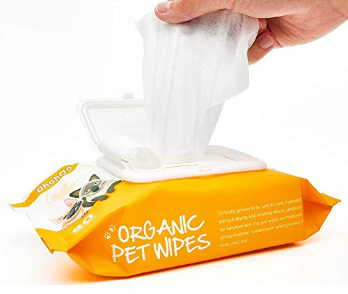 Dhohoo Toallitas de Aseo Para Mascotas, Toallitas de Limpieza Hipoalergénicas para Perros y Gatos, Limpiador de Patas y Orejas para Perros y Gatos, Toallitas Naturales para Mascotas. (80 unidades)