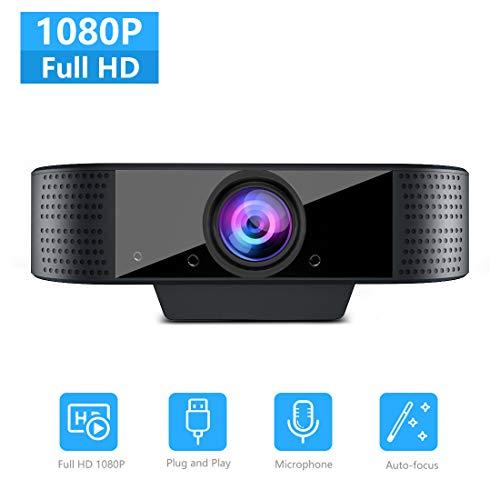 Webcam mit Mikrofon, NIYPS Full HD 1080P Streaming Webcam für PC, Laptop, Mac, Plug-and-Play Webcam USB mit Autofokus und Weitwinkel für Youtube, Skype Videoanrufe, Lernen, Konferenz, Spielen