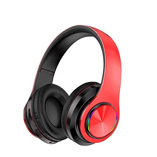 Auriculares Bluetooth Montado En La Cabeza Luminosa Luminosa Luminosa Luz De Respiración Se Puede Insertar Tarjeta Subwoofer Móvil Universal,Rojo