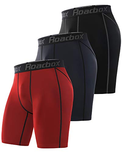 Roadbox Compression Shorts for Men 3 Pack Cool Dry Athletic Workout Underwear Running Gym Spandex Baselayer Boxer Briefs (Black+Space Gray+red, M)