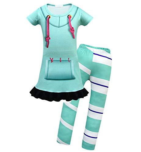 VersusModa Simile Vanellope Vestito Carnevale Bambina Ralph Costume Travestimento Bambina Spaccatutto VANEL01 (Set Top+Pantalone, 110)
