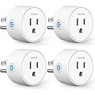 Smart Plug Compatible with SmartThings, Alexa Google Assistant for Voice Control, Teckin Mini Smart Outlet Wifi Socket with Timer Function, No Hub Required, White FCC ETL Certified