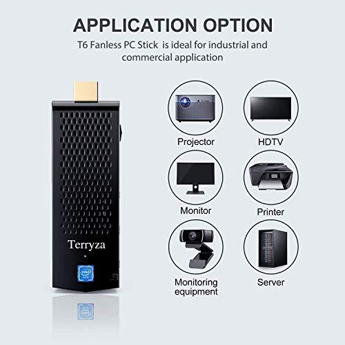 Terryza Mini PC sin ventilador, Intel Atom Z8350 ordenador Stick Windows 10 Pro 64 bits, 4GB DDR 64GB eMMC, 4K HD, Bluetooth 4.2, banda dual WiFi AC
