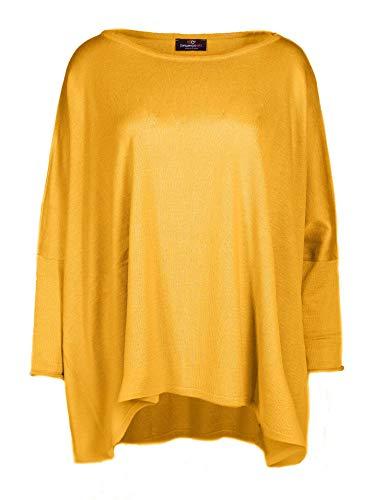 Zwillingsherz Poncho mit Baumwolle - Hochwertiges Cape im Uni Design für Damen Mädchen - XXL Umhängetuch und Tunika - Strick-Pullover - Sweatshirt - Stola für Frühjahr Sommer Herbst und Winter - gelb