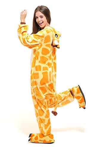 Tante Tina Ganzkörperkostüm Giraffe für Erwachsene - Giraffenkostüm für Erwachsene aus kuschligem Plüsch und Flannel - Orange/Weiß - Größe L