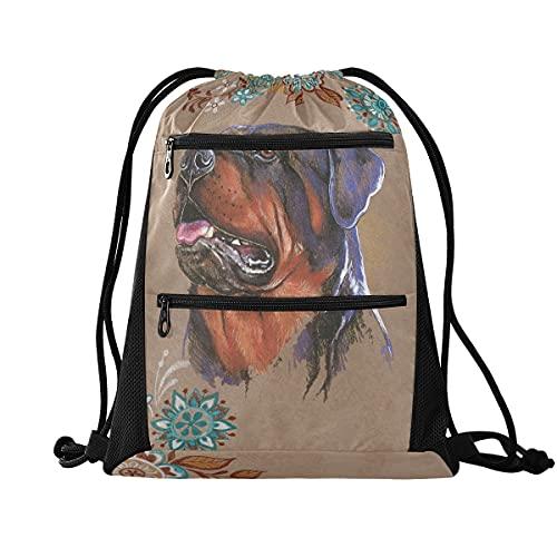 Mochila con cordón para gimnasio, ligera, mochila para escuela, viajes, compras, deporte, Rottweiler Dog 4, Large