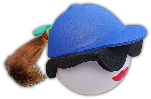 Quantity 3 pcs Pack - Cool Sunglasses Brunette w Blue Hat Pony Tail - Antenna Topper/Car Antenna Ball (Female)