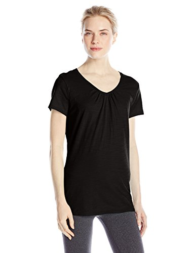 Hanes Women's Shirred V-Neck T-Shirt, Black, X-Large