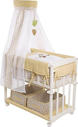 roba Berceau cododo 'Babysitter 4 en 1', bois laqué en blanc, collection 'Safari', utilisable comme cododo, berceau (avec pieds balancelle), petit lit (avec roulettes) et banc, avec matelas