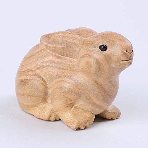 LIUSHI Estatua de Escultura de Conejo de Madera, Decoraciones de Pascua para Interiores y Exteriores, Decoraciones para Ventanas, Embalaje de Caja de Regalo 11  6  7 CM