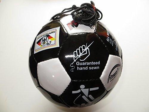Mauzi - Ball - am - Gummiband, der Fitnessball und Trainingsball aus Leder Gr. 5 für Draußen (schwarz/weiß)