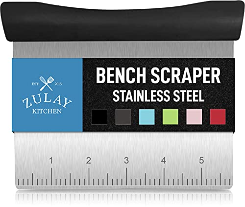 Premium Multi-purpose Stainless Steel Bench Scraper & Chopper, Easy to Read Etched Markings for Perfect Cuts, Quick & Easy Multi-use Dough Scraper, Dough Cutter & Pastry Scraper - by Zulay Kitchen