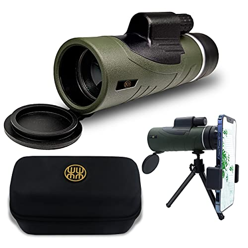Lincredible 12x50 Monocular Telescope - BAK4 Roof Prism High Range Telescope with Tripod, Smartphone Adapter and Hard Case for Bird Watching, Hunting, Travelling, Camping, Wildlife Scenery, Stargazing