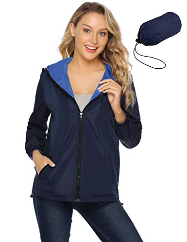 Abollria dames regenjas dubbelzijdig draagbare korte jakce lichte waterdichte overgangjas contrasterende kleuren met zak