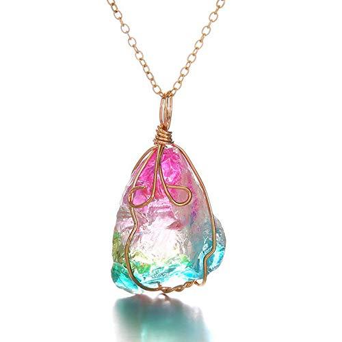 Riuty Cristal Colgante, Collar, Piedra de Cristal Natural, Arco Iris, Roca, Cuarzo, Colgante, Collar, Alambre Lleno, Envolver, Joyas de Piedras Preciosas