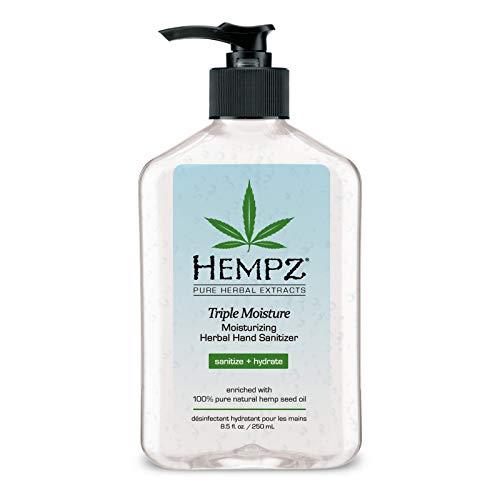 Hempz Triple Moisture Herbal Moisturizing Hand Sanitizer, 8.5 oz. - Scented Antibacterial Gel for Hands - Pump Bottle, Kills 99% of Germs, Grapefruit Fragranced Antiseptic with Skin Hydration