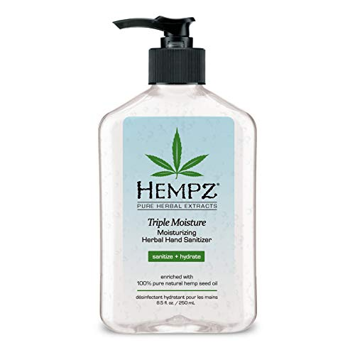 Hempz Triple Moisture Herbal Moisturizing Hand Sanitizer, 8.5 oz. - Scented Antibacterial Gel for...