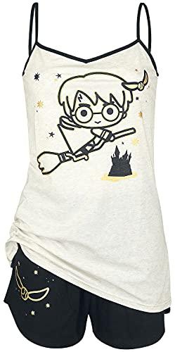 HARRY POTTER Chibi Quidditch Mujer Pijama Crema/Negro M, 50% algodón, 50% poliéster,