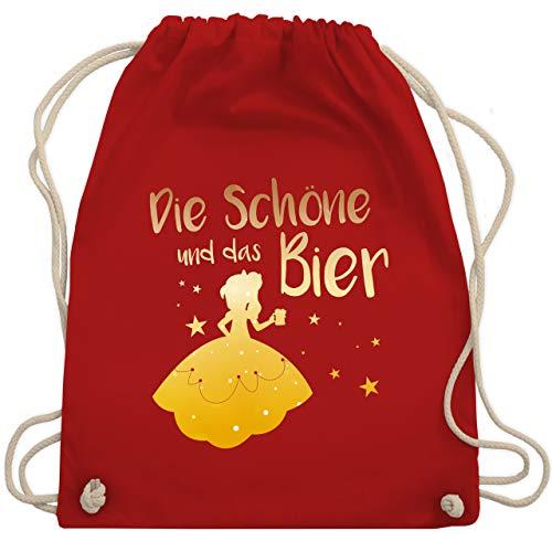 Shirtracer Typisch Frauen - Die Schöne und das Bier - Unisize - Rot - turnbeutel alkohol - WM110 - Turnbeutel und Stoffbeutel aus Baumwolle