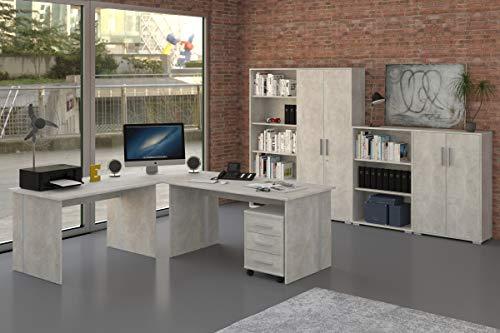 Büromöbel Set 8 Teile in Betonoptik grau, Arbeitszimmer, Möbel, Büroeinrichtung (Komplettset...