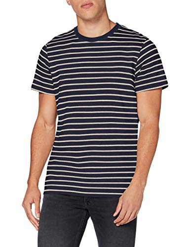 JACK & JONES Herren JJESTRIPED Tee SS Crew Neck STS T-Shirt, Navy Blazer, M