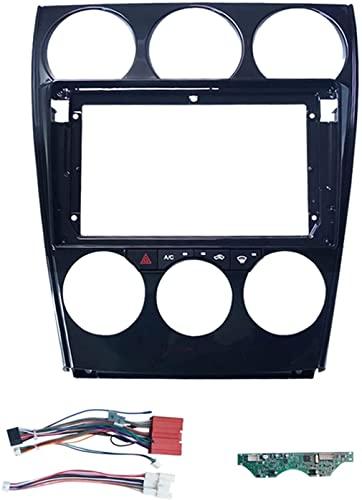 FORETTY Nuevo- 2 Adaptador de Marco de Fascia de Audio de Coches DIN con C.A. Panel y Cable de alimentación CANBUS Pantalla Grande DVD Kit de Ajuste de Tablero Ajuste for Mazda 6