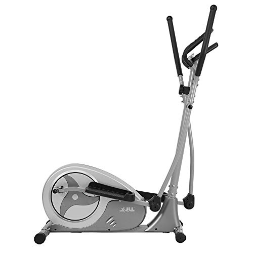 JLL® CT300 Home Luxury Elliptical Cross Trainer, 2017 New Magnetic resistance elliptical fitness Cardio workout with 8-level magnetic adjustable resistance, 5.5KG two ways Flywheel, console display with heart rate sensor and tablet holder. Silver colour