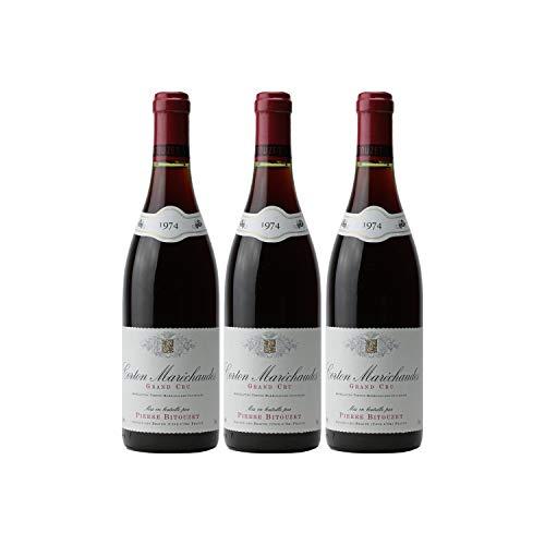 Corton Maréchaudes Rotwein 1974 - Pierre Bitouzet - g.U. - Burgund Frankreich - Rebsorte Pinot Noir - 3x75cl