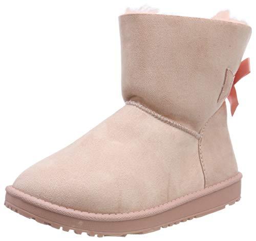 Warm Gefütterte Damen Stiefel Schlupfstiefel Boots Stiefeletten Schuhe 130009 Rosa Schleife 38 Flandell
