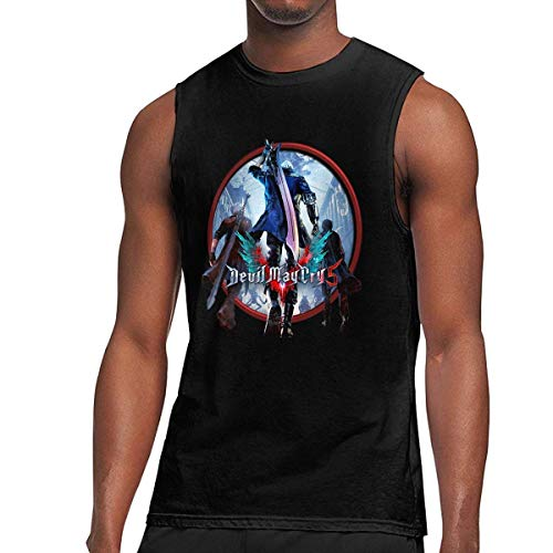 Nueva Camiseta sin Mangas de Moda Personalizada Devil May Cry 5 para Hombre Negro