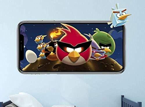 SJXWOL Etiqueta de Dibujos Animados Pegatinas de Pared Angry Bird Space Tatuajes de Pared 3D Pegatina Mural Decorativo Vinilo Video para niños 55x60cm