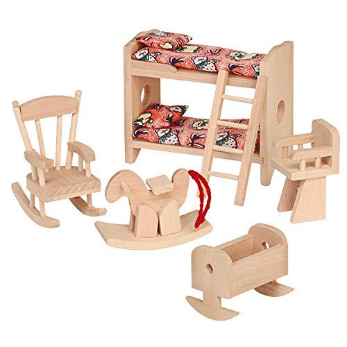 Muebles de casa de muñecas, habitación de niños, 6 Piezas, casa de muñecas de Madera