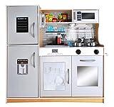 Kruzzel Cocina infantil de madera, accesorios de cocina con luz, 9150, color: marrón claro