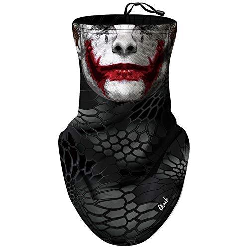 Obacle Neck Gaiter Face Mask Bandana Face Mask with Adjustable Drawstring for Men Women (Skull White Face Red Lips)