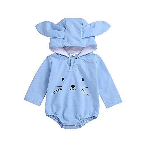 catmoew Kleidung Baby (6-24M) Kleidung Kinder Blau Cartoon Kaninchen Strampler Babybekleidung Baby Lange Ärmel Krabbelhose Neugeborene Kleidung
