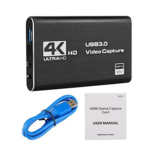 SASKATE Convierte la tarjeta de captura de vídeo, 4K tarjeta de captura de vídeo HDMI USB3.0 4K 1080P convertidor de vídeo para transmisión en vivo dispositivo de grabación de juegos